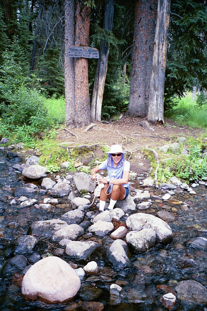 Filtering water from Divide Creek.